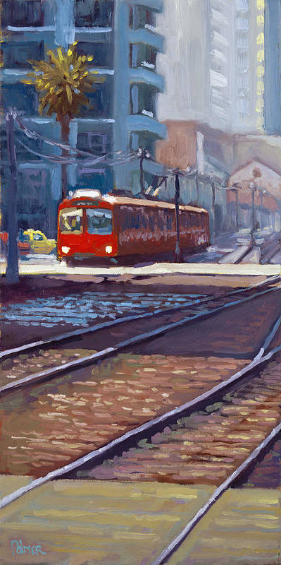 Trolley Art Print featuring the painting Red Trolley by Scott Palmer