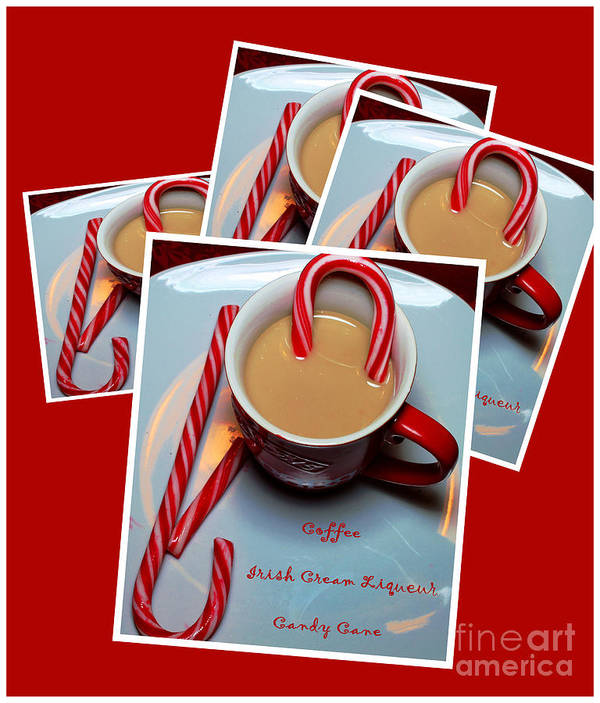 Cup Of Christmas Cheer Art Print featuring the photograph Cup Of Christmas Cheer - Candy Cane - Candy - Irish Cream Liquor by Barbara Griffin
