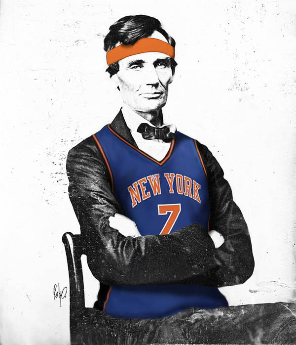 Abe Lincoln Drawings Art Print featuring the digital art Abe Lincoln In A Carmelo Anthony New York Knicks Jersey by Roly O