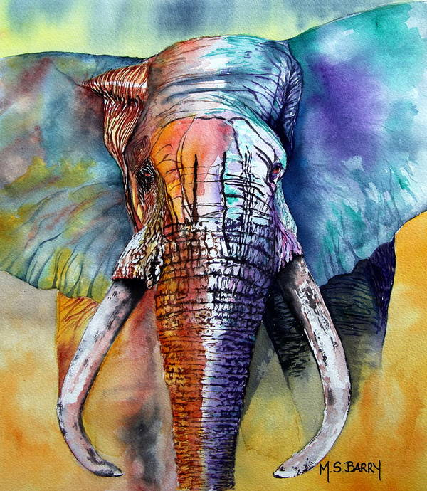 Elephant Art Print featuring the painting Alpha by Maria Barry