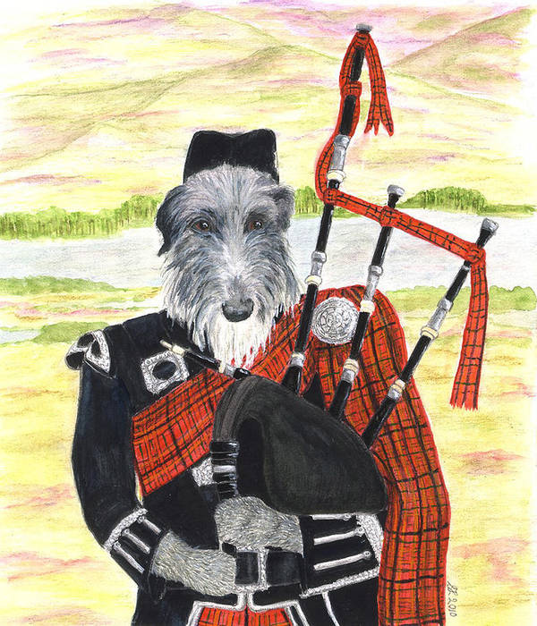 Scottish Deerhound Art Print featuring the painting Angus The Piper by Stephanie Grant