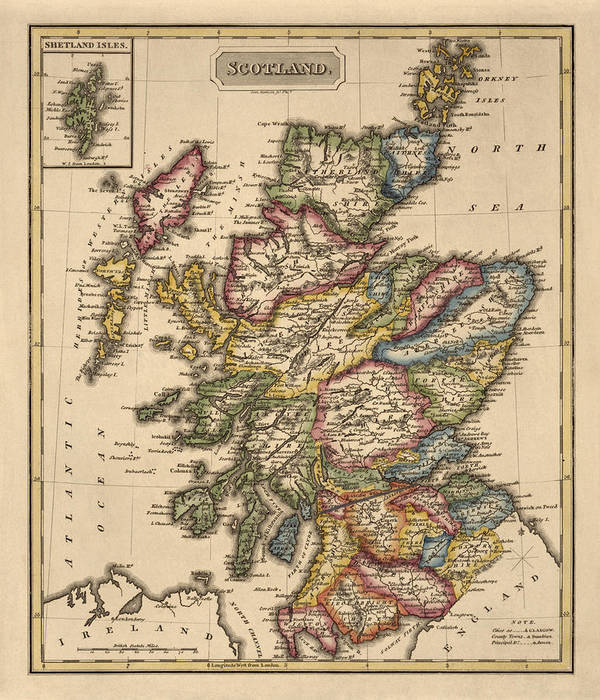 graphic regarding Printable Map of Scotland named Antique Map Of Scotland As a result of Fielding Lucas - Circa 1817 Artwork Print