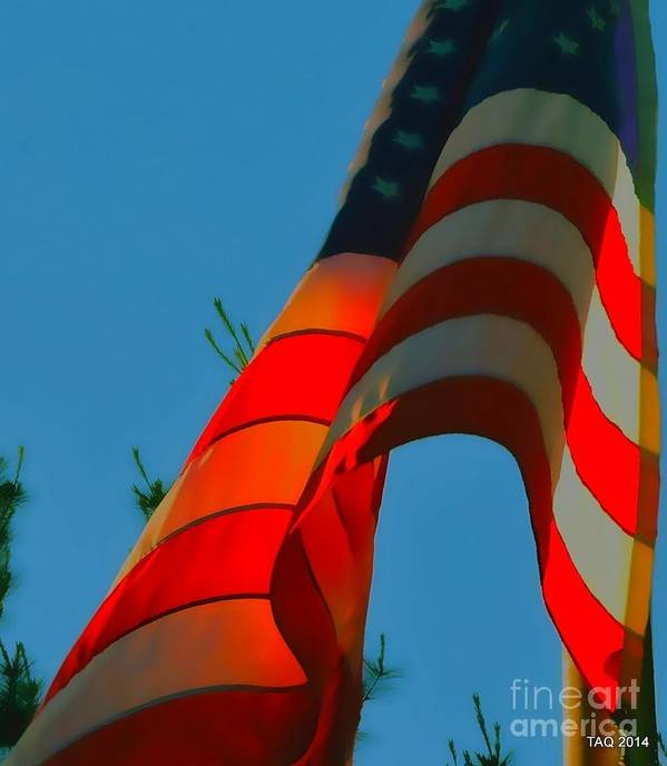 American Flag Art Print featuring the photograph At The Twilight's Last Gleaming by Tami Quigley