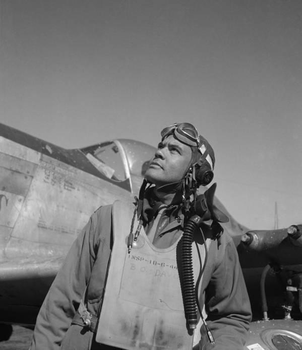 Benjamin Davis Art Print featuring the photograph Benjamin Davis - Ww2 Tuskegee Airmen by War Is Hell Store