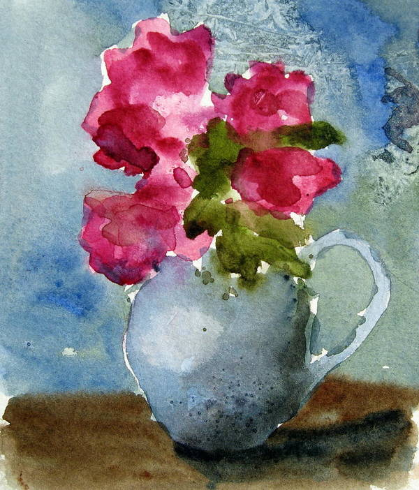 Blue Art Print featuring the painting Blue Pitcher by Anne Duke