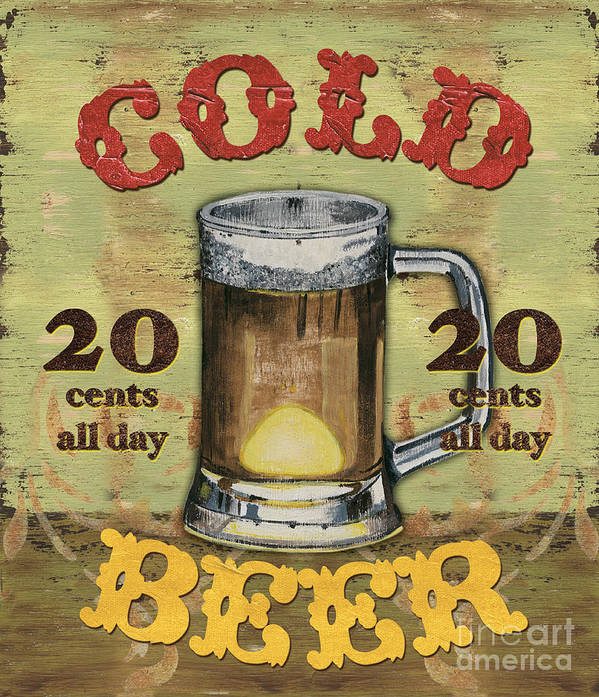Food Art Print featuring the painting Cold Beer by Debbie DeWitt