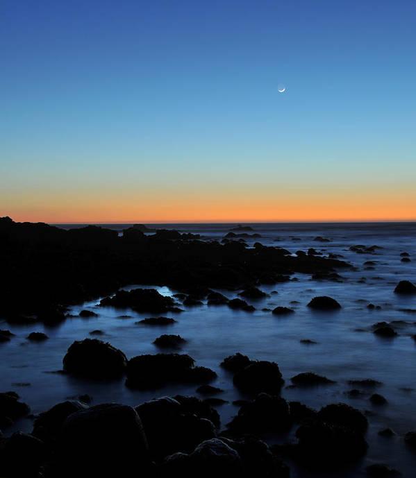 Shoreline Art Print featuring the photograph Crescent Moon Setting Off The San Mateo Coast by Scott Lenhart