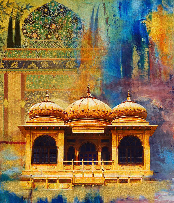 Pakistan Art Print featuring the painting Detail Of Mohatta Palace by Catf