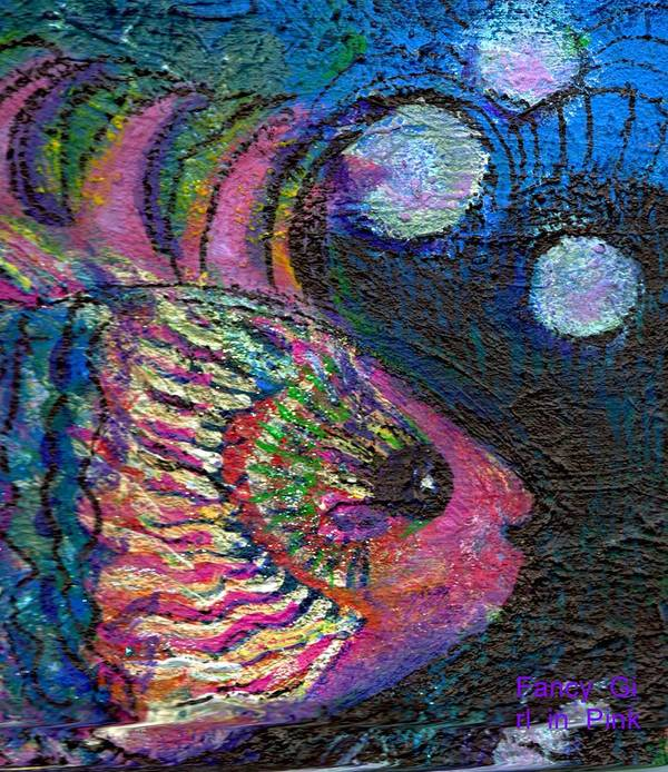 Pink Art Print featuring the painting Happy Pink Fish by Anne-Elizabeth Whiteway