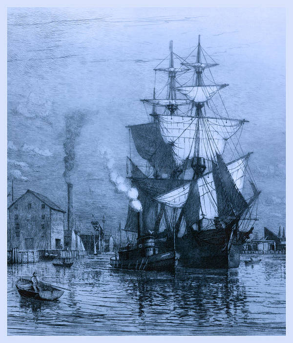Schooner Print featuring the photograph Historic Seaport Blue Schooner by John Stephens