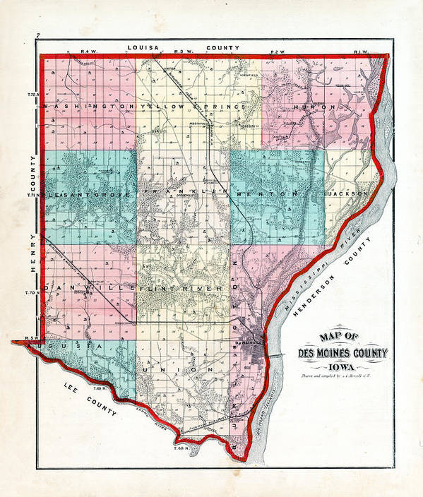 Iowa, 1873, County Map, Des Moines County Art Print by Historic Map ...