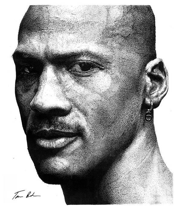 Michael Jordan Print featuring the drawing Jordan Dots by Tamir Barkan