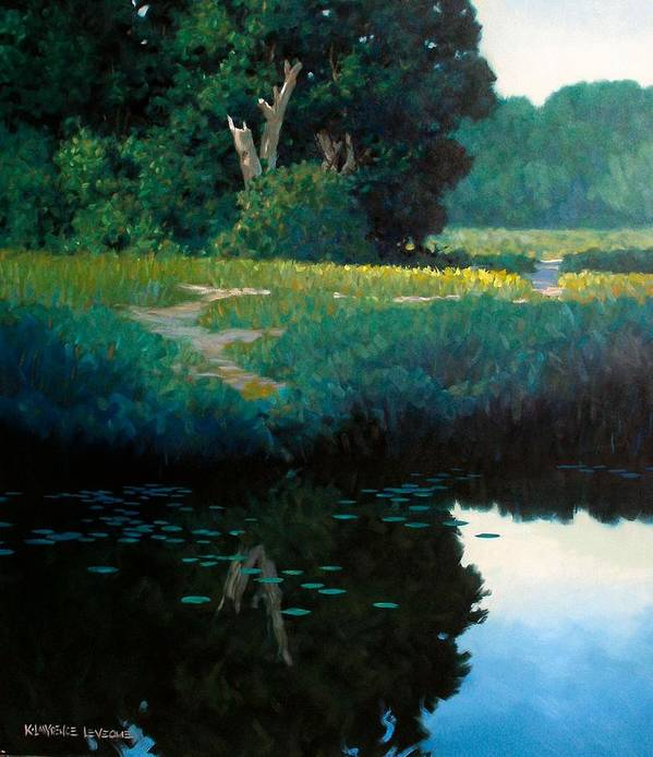 Landscape Art Print featuring the painting Lily Pads by Kevin Lawrence Leveque