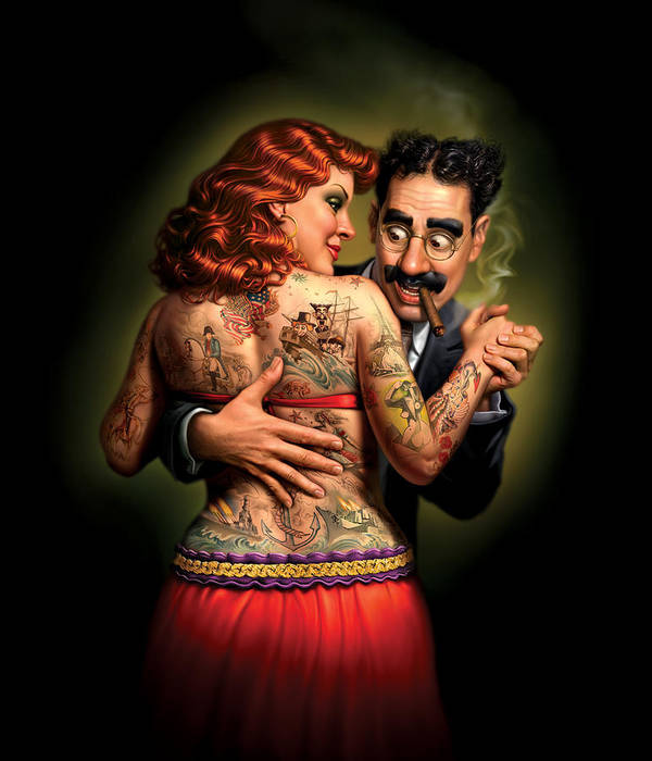 Tattoos Art Print featuring the painting Lydia The Tattooed Lady by Mark Fredrickson