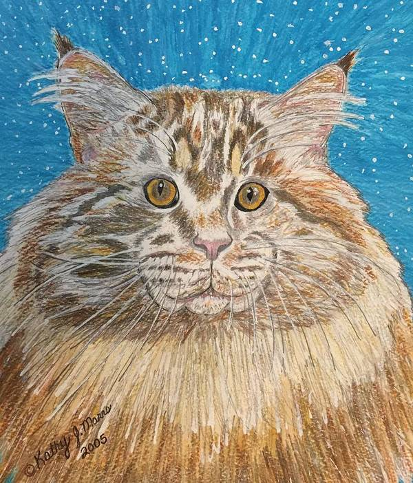 Maine Art Print featuring the painting Maine Coon Cat by Kathy Marrs Chandler