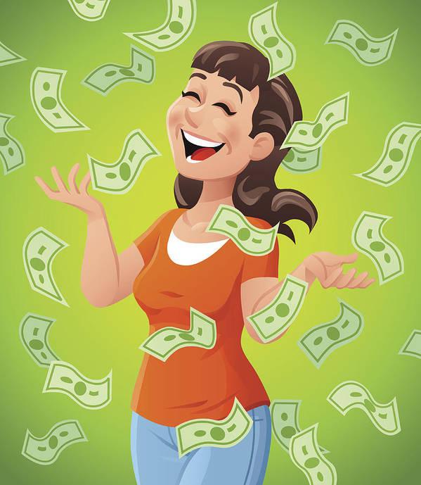 Money Raining Down On Woman Art Print By Kbeis