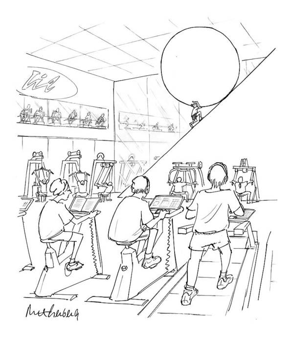 Sisyphus Art Print featuring the drawing New Yorker July 20th, 1998 by Mort Gerberg