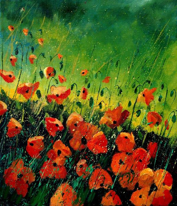 Poppies Art Print featuring the painting Orange Poppies by Pol Ledent