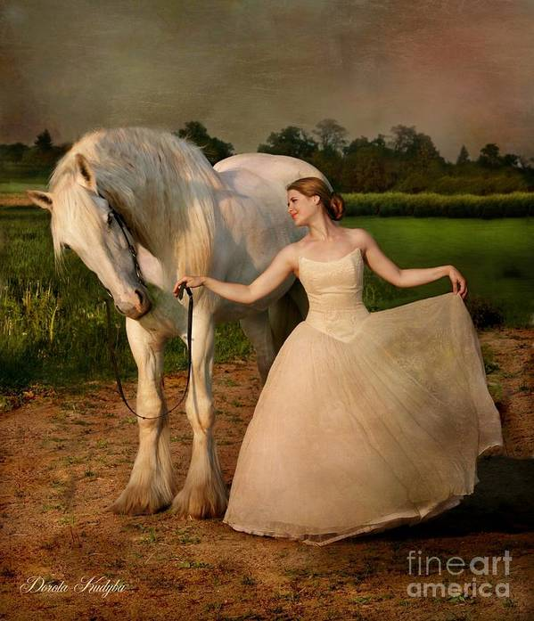 White Horse Print featuring the photograph Perfect Dancers by Dorota Kudyba