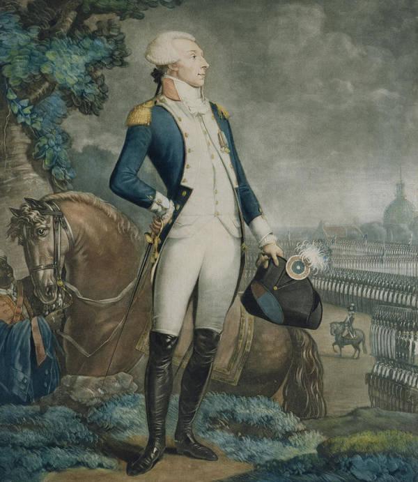 Marquis De La Fayette Art Print featuring the painting Portrait Of The Marquis De La Fayette by Philibert-Louis Debucourt