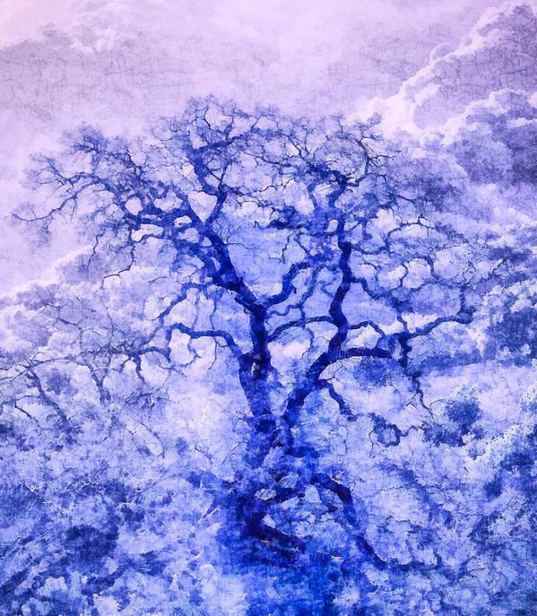 Nature Art Print featuring the digital art Purple Oak Tree Dream by Priya Ghose