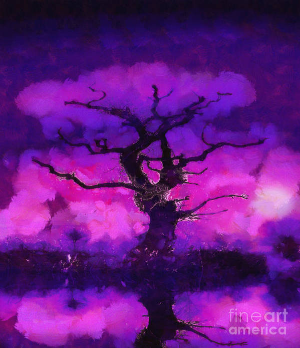 Fantasy Art Print featuring the painting Purple Tree Of Life by Pixel Chimp