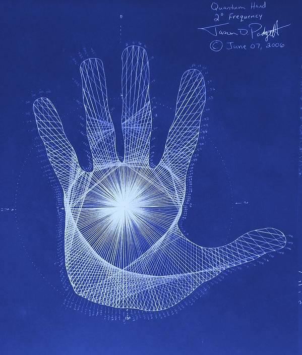 Hand Print featuring the drawing Quantum Hand Through My Eyes by Jason Padgett