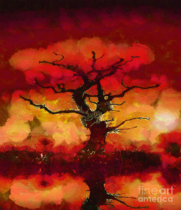 Fantasy Art Print featuring the painting Red Tree Of Life by Pixel Chimp
