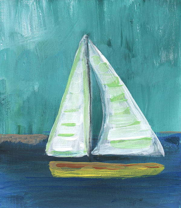 Boat Art Print featuring the painting Set Free- Sailboat Painting by Linda Woods