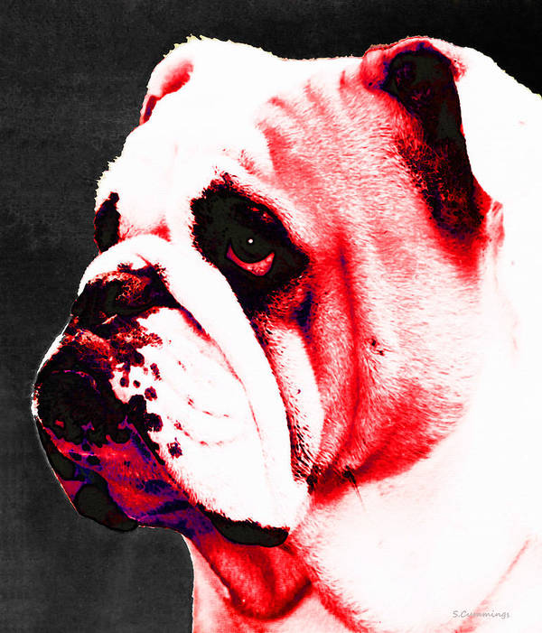 Bulldogs Art Print featuring the painting Southern Dawg By Sharon Cummings by Sharon Cummings