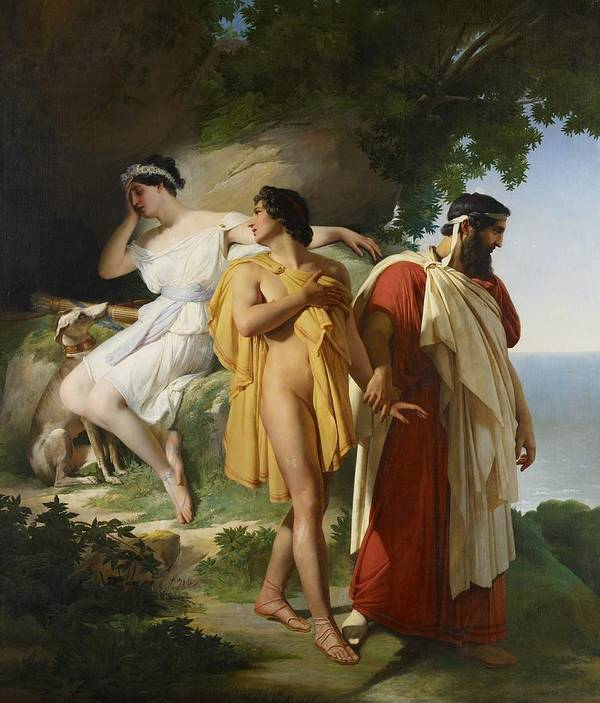 Telemachus; Eucharis; The Adventures Of Telemachus; Odyssey; Literature; Scene; Characters; Greek; Myth; Mythology; Mythological; Legend; Hero; Journey; Love; Lovers; Male; Female; Nymph; Mentor; Young; Innocence; Grief; Tragic; Parting; Parted; Departing; Farewell; Goodbye; Leaving; Leading; Looking Back; Heartbroken; Heartbreak; Romance; Romantic; Classical; Connection; Sorrow; Sad; Sadness; Dog; Pet; Domestic Animal; Landscape; Nude; Drapery; Gesture; Head In Hand;emotion; Emotions; Emotional Art Print featuring the painting Telemachus And Eucharis by Raymond Quinsac Monvoisin