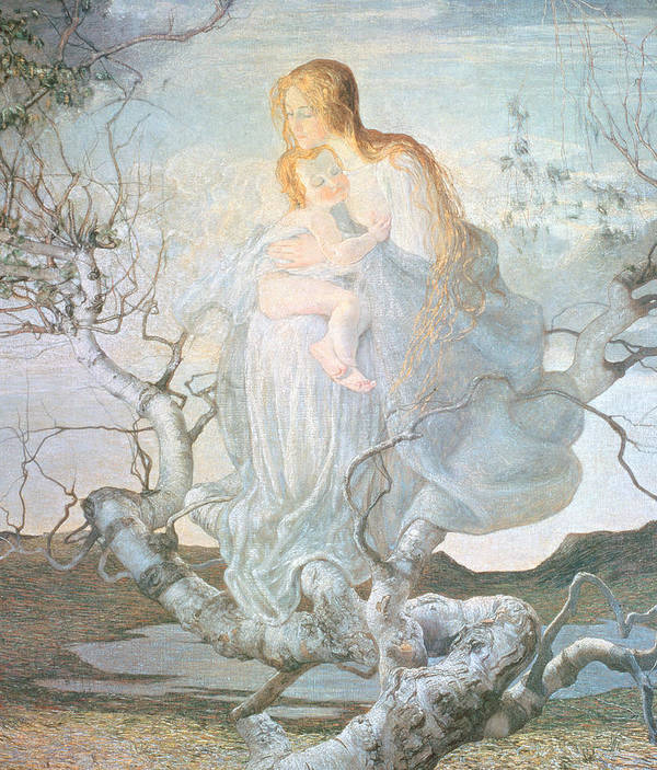 Mother And Child Art Print featuring the painting The Angel Of Life by Giovanni Segantini