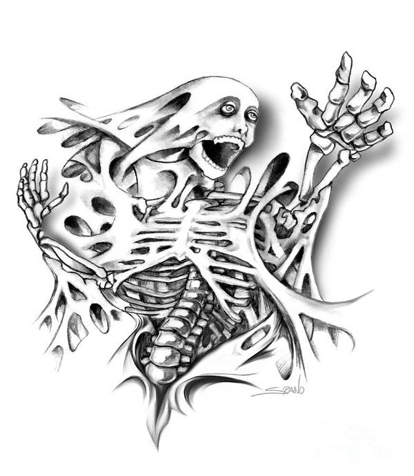 Spano Art Print featuring the painting Trapped Skeleton By Spano by Michael Spano
