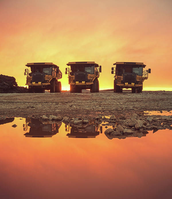 Construction Site Art Print featuring the photograph Trio Of Trucks by Shaunl