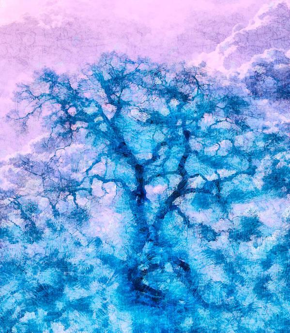 Nature Art Print featuring the digital art Turquoise Oak Tree by Priya Ghose