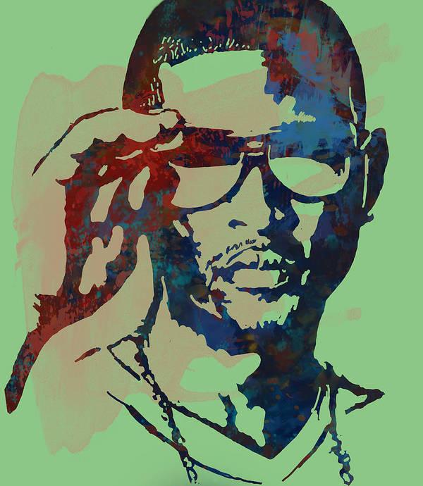 Usher Raymond Iv Art Print featuring the drawing Usher Raymond Iv - Stylised Pop Art Sketch Poster by Kim Wang
