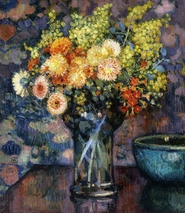 Still-life Art Print featuring the painting Vase Of Flowers by Theo van Rysselberghe