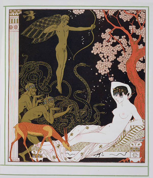 Forest Art Print featuring the painting Venus by Georges Barbier