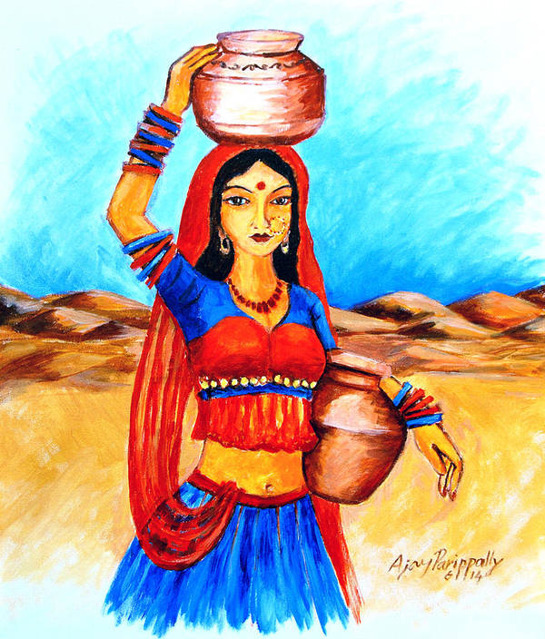 Painting Village Girl Art Images