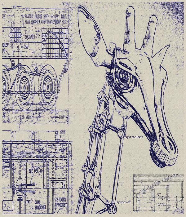 Vintage robot giraffe blueprint art print by jane schnetlage steampunk art print featuring the digital art vintage robot giraffe blueprint by jane schnetlage malvernweather Choice Image