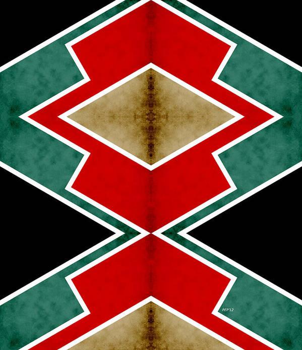 Digital Art Art Print featuring the digital art Zig Zag Angles 4 by Phil Perkins