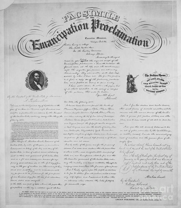 Emancipation Proclamation Print featuring the photograph Emancipation Proclamation by Photo Researchers