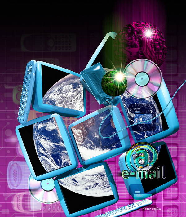 Computer Artwork Art Print featuring the photograph Global Communication by Victor Habbick Visions
