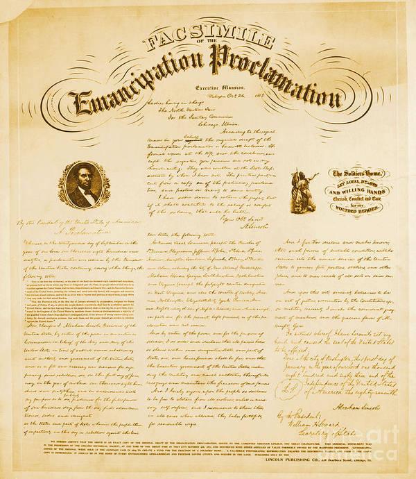 Emancipation Proclamation Art Print featuring the photograph Emancipation Proclamation by Photo Researchers
