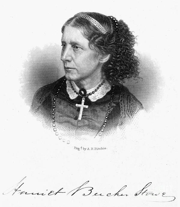 1868 Art Print featuring the photograph Harriet Beecher Stowe by Granger