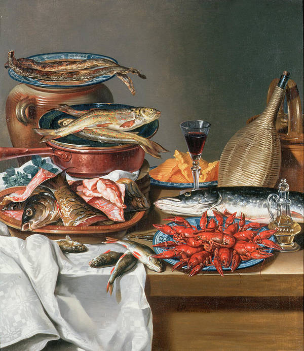 Olive Oil; Tablecloth; Herrings; Plate; Salmon; Filleted Art Print featuring the painting A Still Life Of A Fish Trout And Baby Lobsters by Anton Friedrich Harms