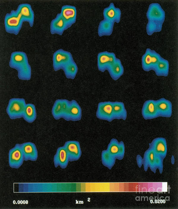Science Art Print featuring the photograph Castalia Asteroid Sequence, False-color by Science Source