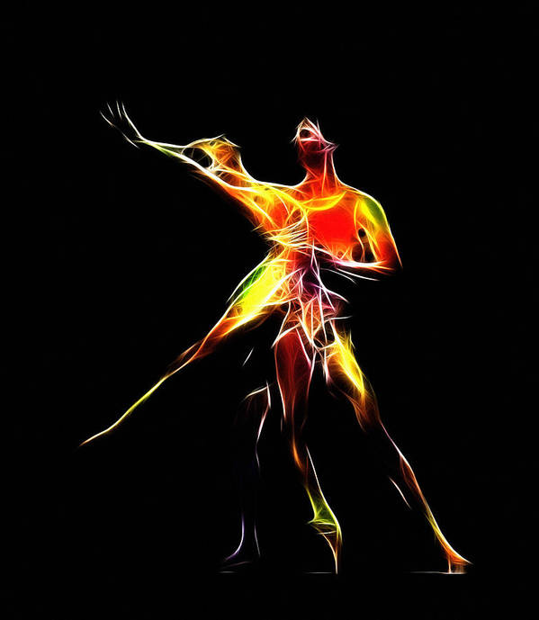 Ballet Ballerina Dance Dancing Princess Erotic Female Girl Woman Sexy Expressionism Wonderful Art Elegant Pretty Lovely Gracefully Painting Dancer Dream Electric Energy Dynamic Motion Love Lovers Dancers Abstract Art Print featuring the digital art Dancing Lovers by Steve K