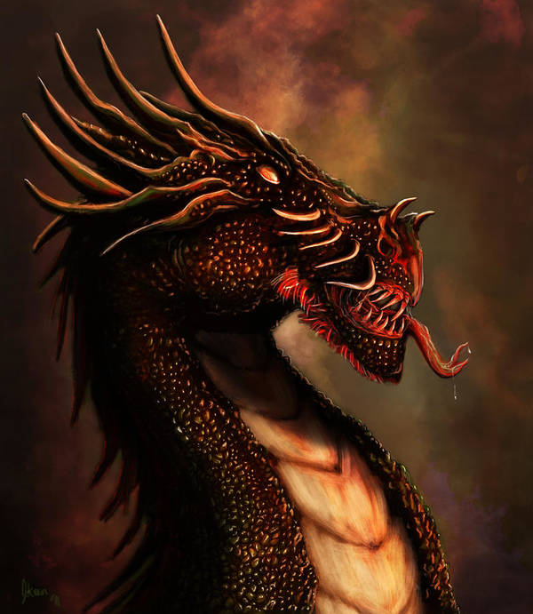 Dragon Art Print featuring the digital art Dragon Portrait by Mustafa Okan Bulbul
