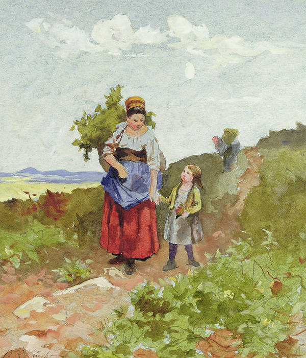 Mother And Child; Breton; Basket Art Print featuring the painting French Peasants On A Path by Daniel Ridgway Knight